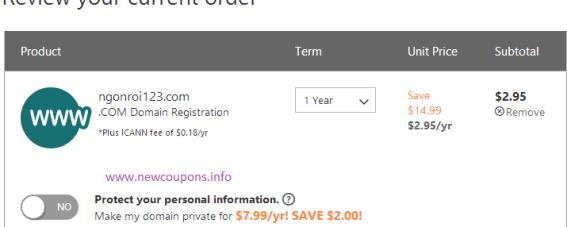 Godaddy Coupon Domain .Com Just $2.95