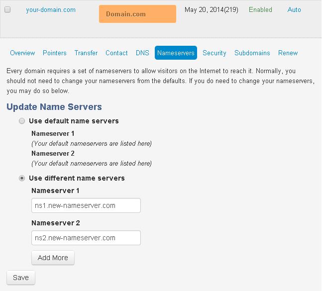 domaindotcom update nameserver