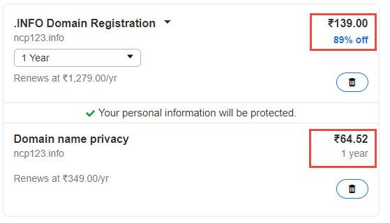GoDaddy .Info Domain Coupon in November 2018: $0.99 + $1 Privacy