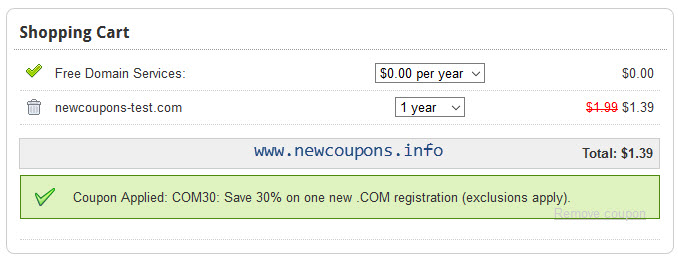 Domain.Com coupon: .COM $1.39, .NET $0.69, Limited Time