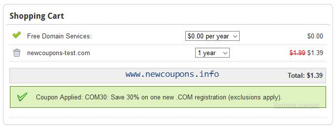 Domain.Com coupon: .COM $1.39, .NET $0.69, Limited Time