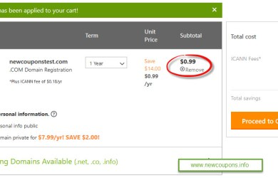 godaddy 99 cent coupon test results