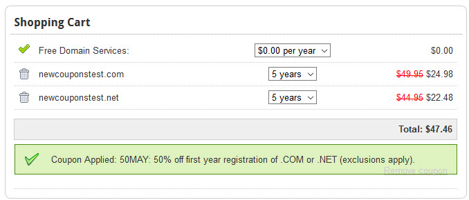 Domain.Com Save 50% on .Com & .Net domains