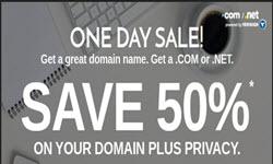 domaindotcom promotion save 50 com net domain