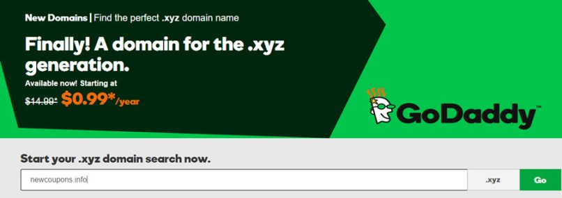 GoDaddy .XYZ domain coupon for only $0.99/year !