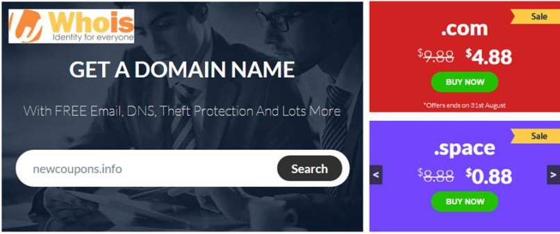 Whois.Com Promotions: $4.88 .Com and Many domains on Sale!