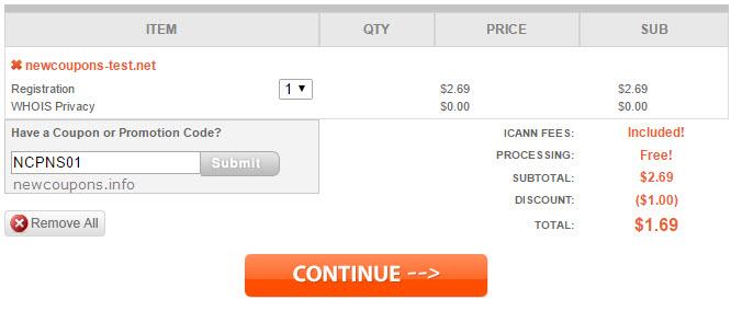 NameSilo .Net coupon for just $1.69/yr