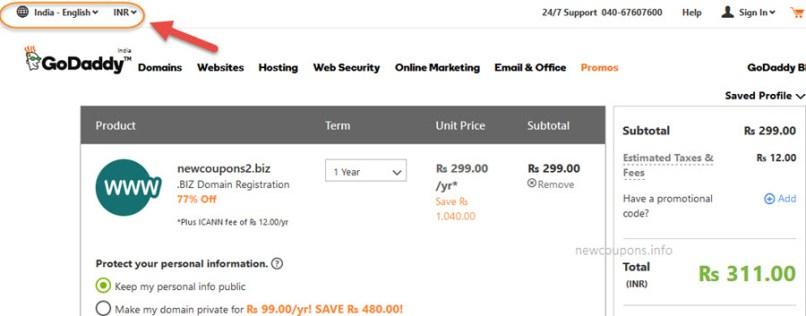 $0.99 GoDaddy .BIZ Domain Coupon January 2020