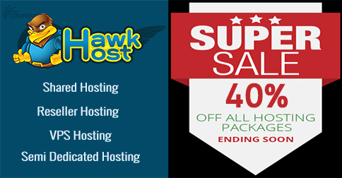 Latest HawkHost coupon for save 40% web hosting