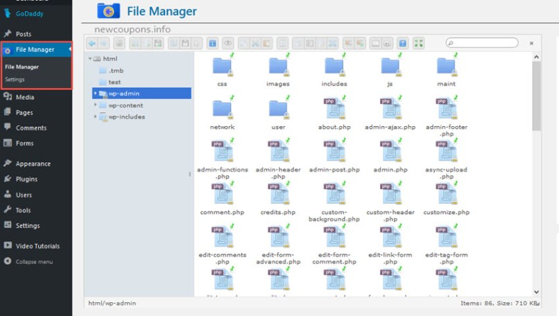 How set up File Manager on GoDaddy Wordpress Hosting ?