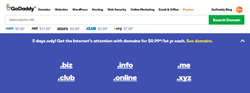 Register Six Great Domains at just $0.99 each from GoDaddy