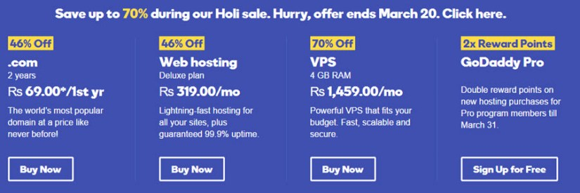 Godaddy India Coupons & Promos: Domain just 99 cent