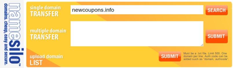 NameSilo 10% off discount for domain transfers