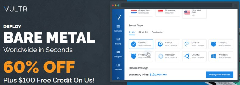 Vultr Bare Metal Server: 60% off plus $100 Free Credit!