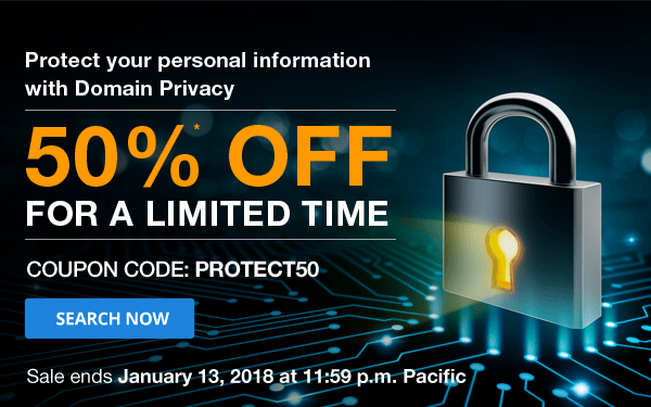 Save 50% Domain Privacy at Domain.Com