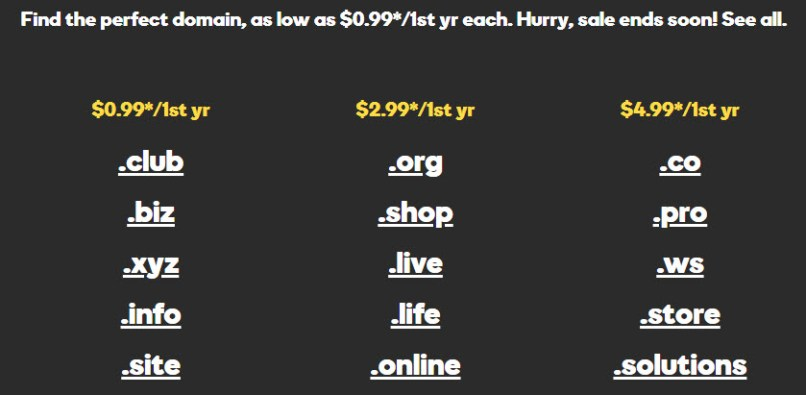 GoDaddy Flash Sale: Register domains from $0.99/year each!