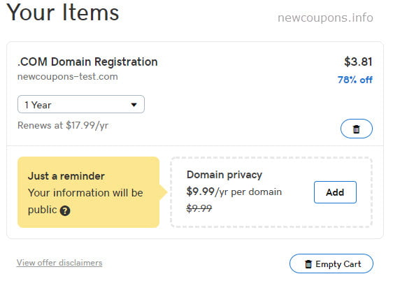 Register .COM For Only $3.81 at GoDaddy - 78% Off