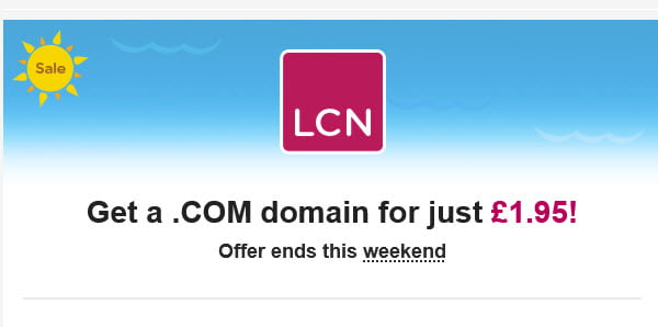LCN.COM - Register .COM For Just £1.95 ($2.5)