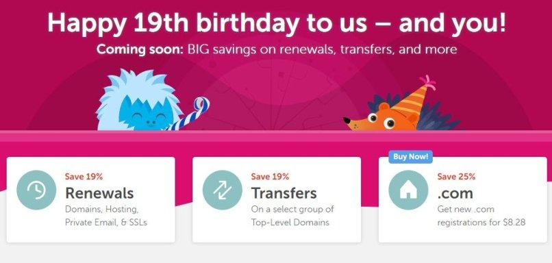 NameCheap 19th Birthday Deals - BIG Savings on Renewals, Transfers!
