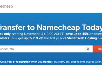 NameCheap Domain Transfer Week - Save up to 45% plus 71% Off Hosting