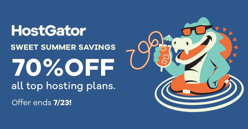 HostGator Summer Savings! 70% OFF All Shared Hosting Plans