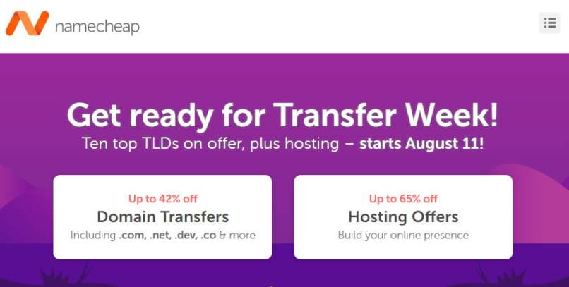 NameCheap - 42% OFF Domain Transfers - 65% OFF Web Hosting