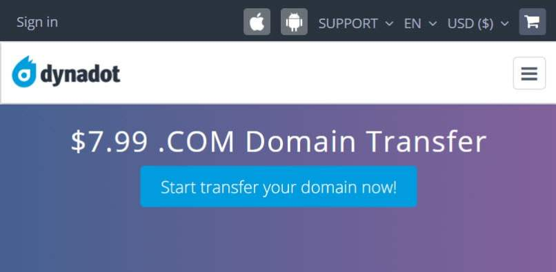 $7.99 .COM Domain Transfer To Dynadot - 1 Year Extended Free