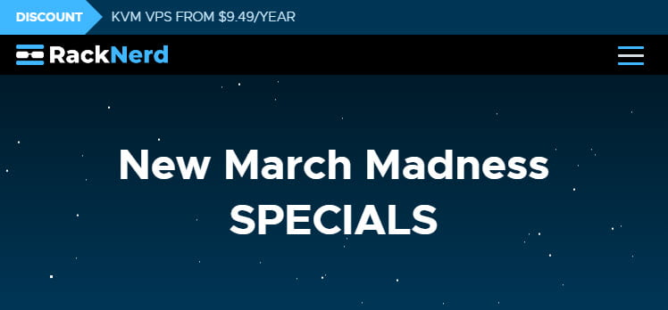 RackNerd March Madness Deals - KVM VPS From $9.49/Year