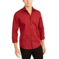Alfani Men's Classic-Fit Ombre Buffalo Check Shirt Red Size Extra Large for $94