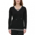 Calvin Klein Women's Lace-Up Sweater Black Size Small for $94