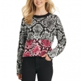 DKNY Women's Colorblock Python-Print Sweater Gray Size Extra Small for $119