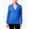 Karen Scott Women's Cotton Marled Shawl-Collar Sweater Blue Size Extra Large for $94