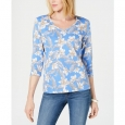 Karen Scott Women's Floral-Print V-Neck Top Blue Size Medium for $23