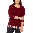 Karen Scott Women's Layered-Look Solid & Plaid Top Red Size Medium for $34
