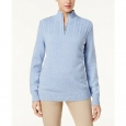 Karen Scott Women's Marled-Knit Quarter-Zip Sweater Blue Size Small for $94