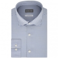 Michael Kors Men's Slim-Fit Non-Iron Airsoft Performance Stretch Check Dress Shirt Blue Size 17-34-35 for $119