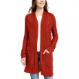 Pink Rose Juniors' Eyelet Long Cardigan Red Size Extra Large for $94