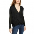 Polly & Esther Juniors Women's Surplice-Neck Top Black Size Large for $34