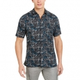 Tasso Elba Men's Stretch Leaf Grid-Print Shirt Black Size Extra Large for $94