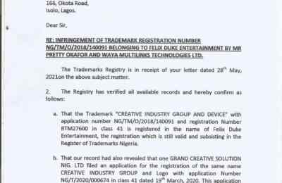 Ministry of trade letter