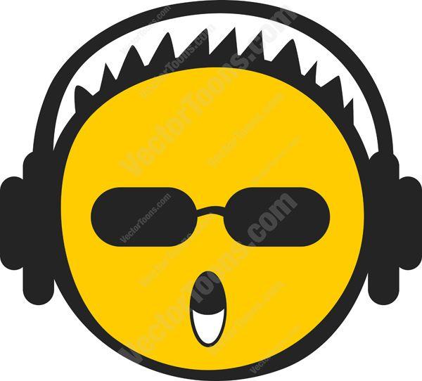 Smiley Face Wearing Headphones Clip Art