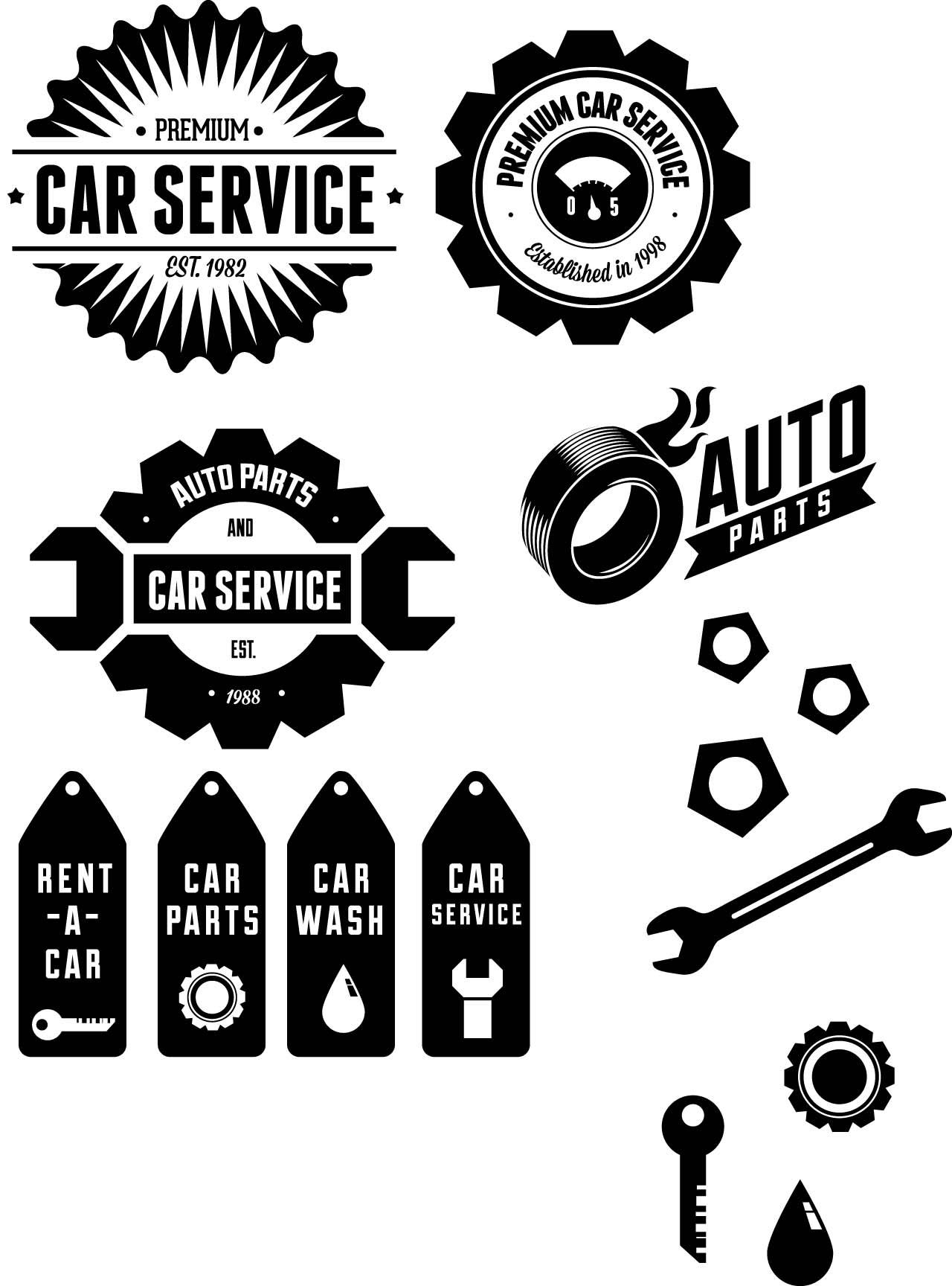 19 Automotive Vector Vintage Label Images