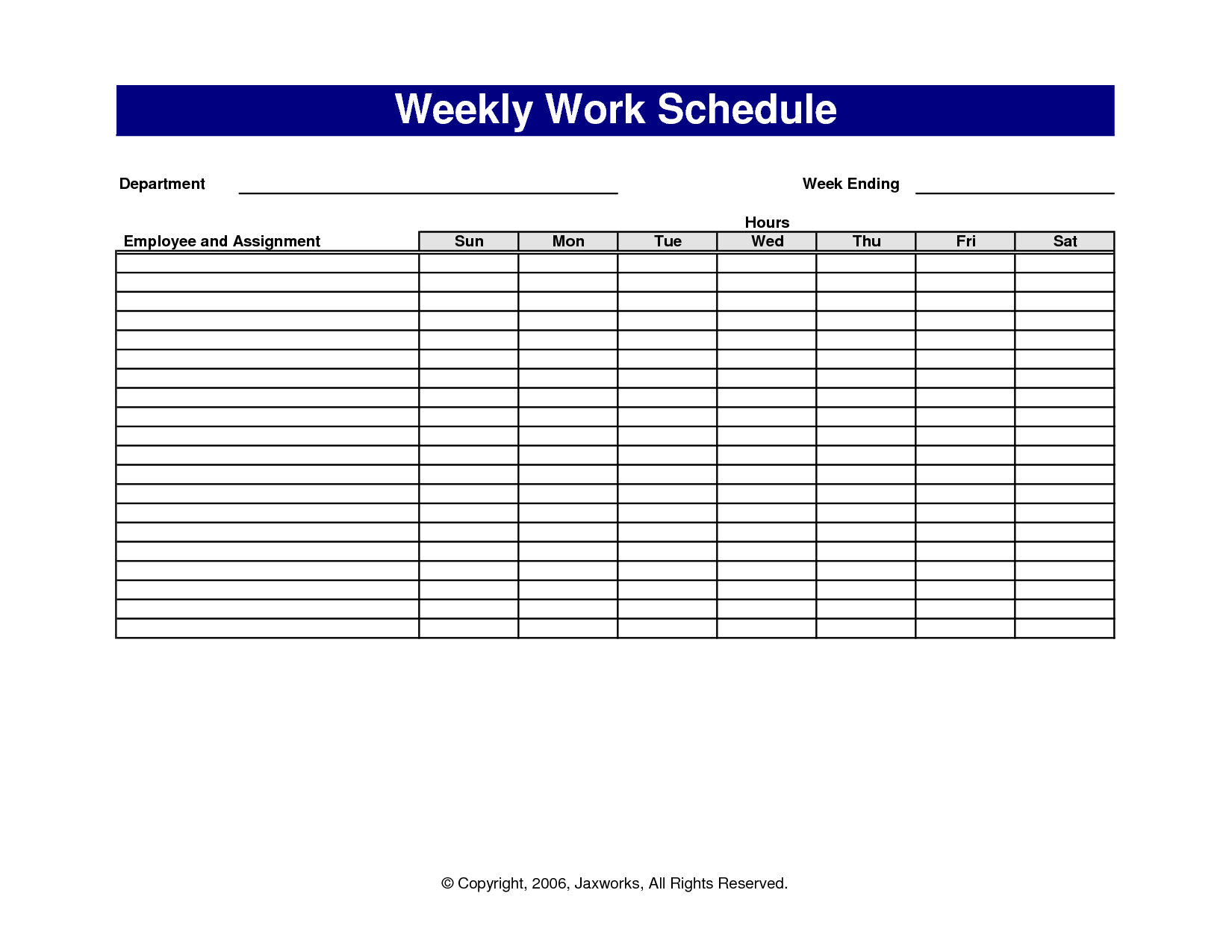 13 Blank Weekly Work Schedule Template Images