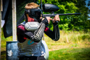 shooting with a paintball gun