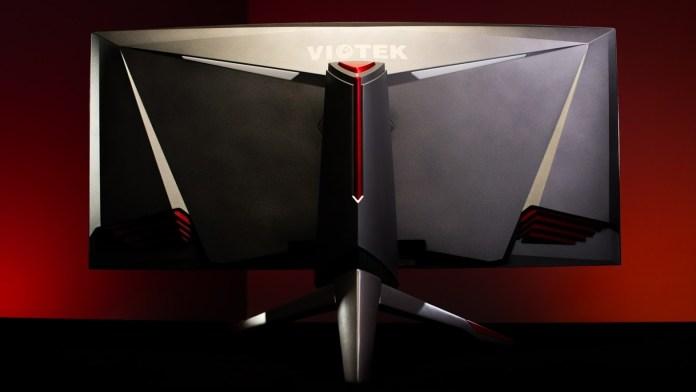 back of the viotek ultrawide gaming monitor