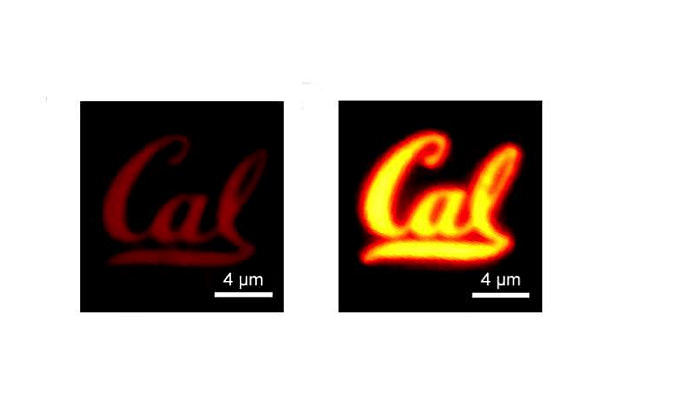 A monolayer semiconductor film shaped into a Cal logo. The image on the left shows the material before it was treated by the superacid; the right hand image is the film after the treatment. Image by Matin Amani / UC Berkeley