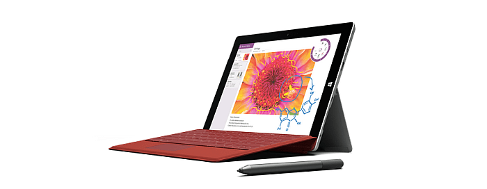 Surface 3 with red typecover