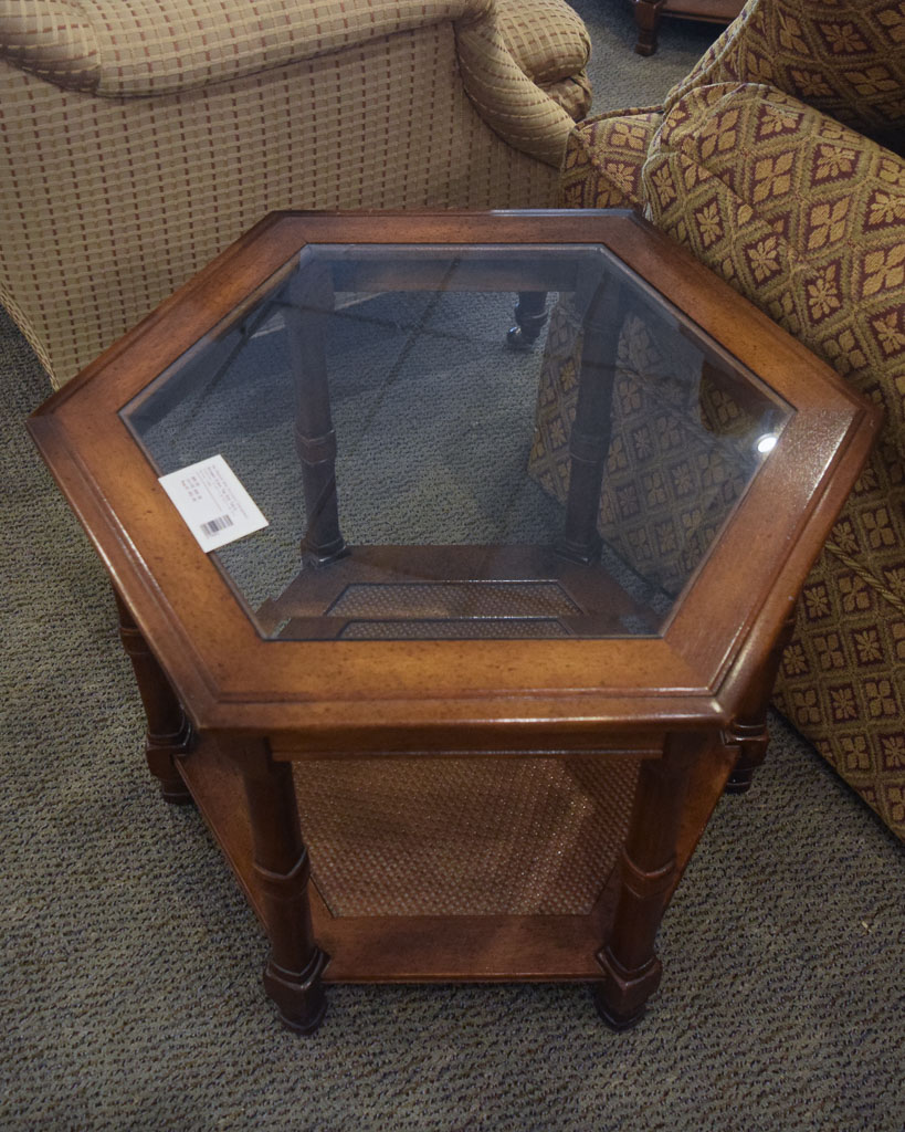 octagon glass top end table
