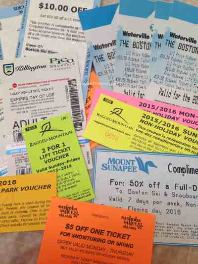 All the Free and Discounted Tickets from the Expo we got in one visit