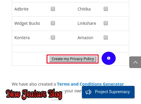 newfeatureblog.com privacy policy page create